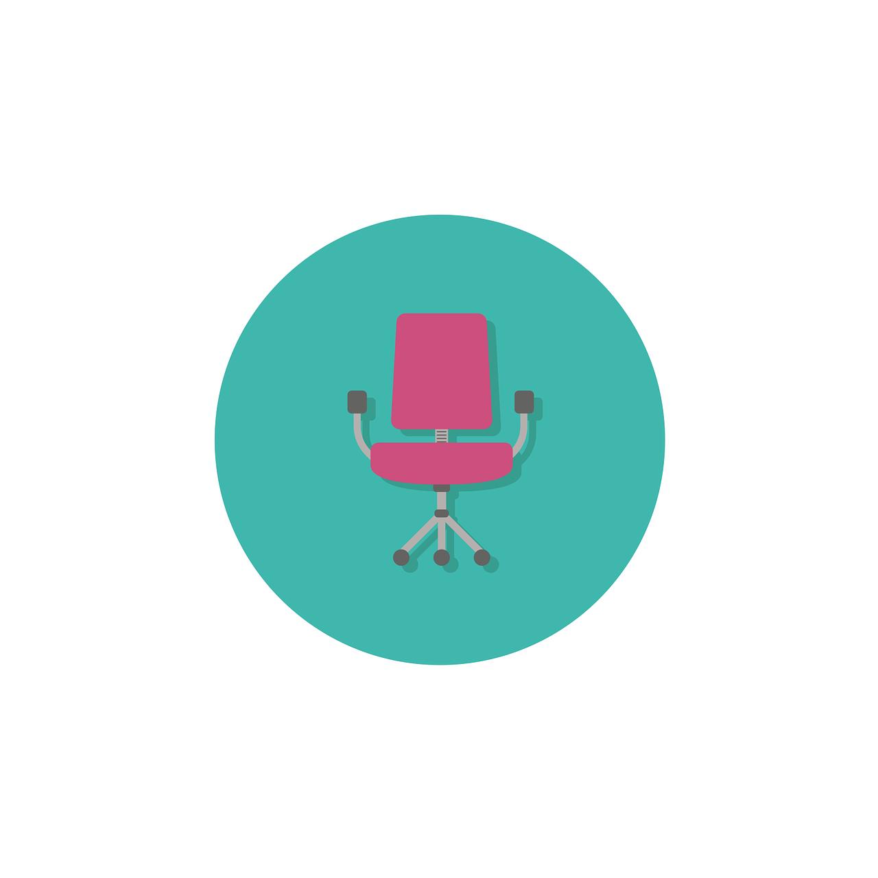 desk, chair, icon